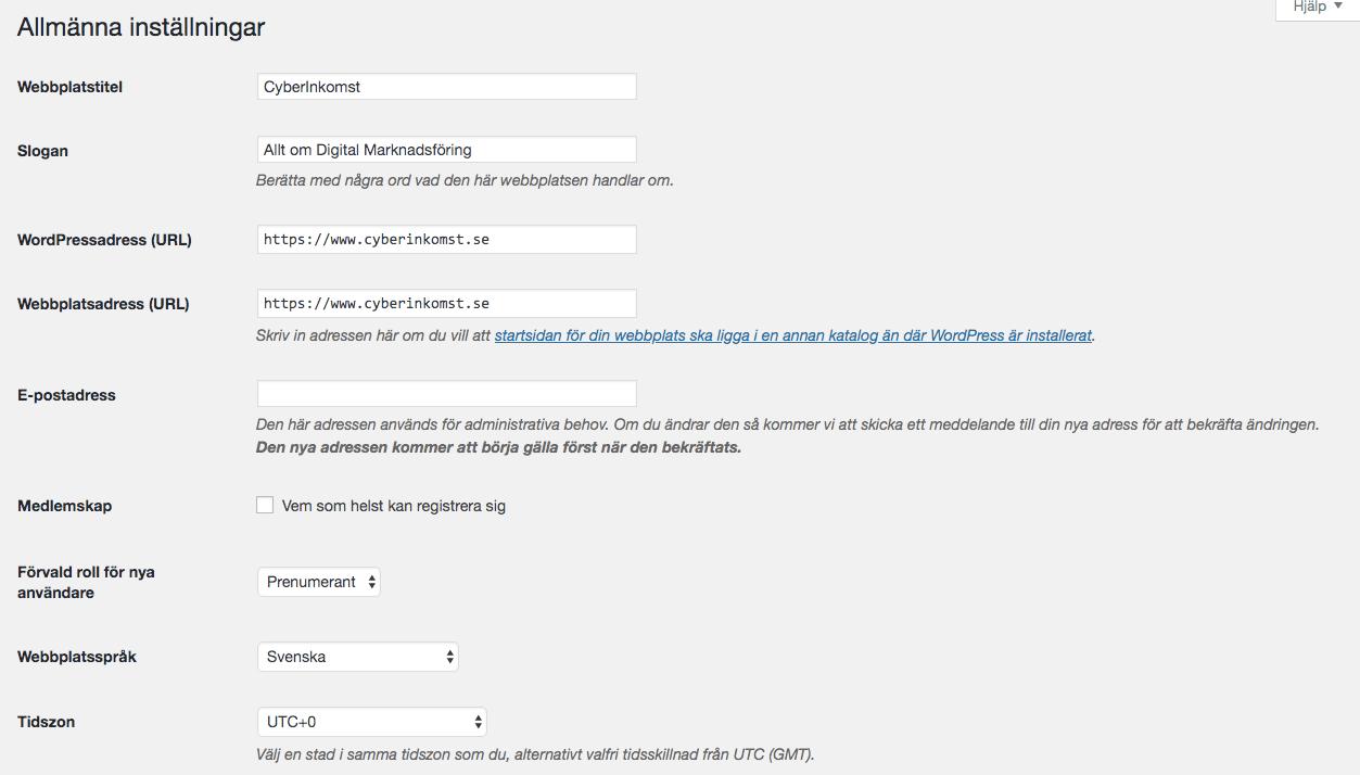 Wordpress installningar